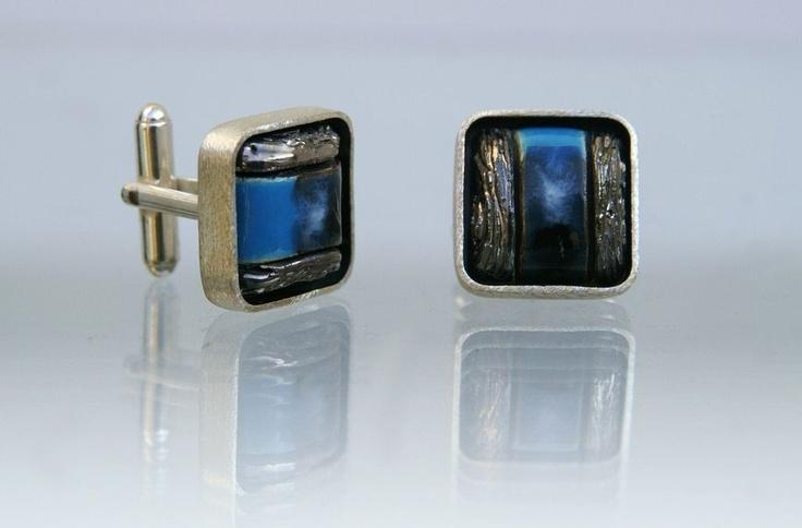 Niebieskie spinki do mankieów www.gulbierz.pl #ceramika #jewellery #men