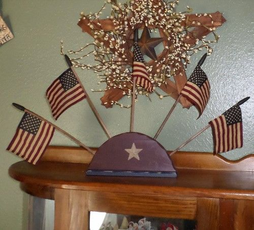Patriotic Decorations | Wooden Flag Stand Holder With Flags Patriotic Home  Décor, Americana .