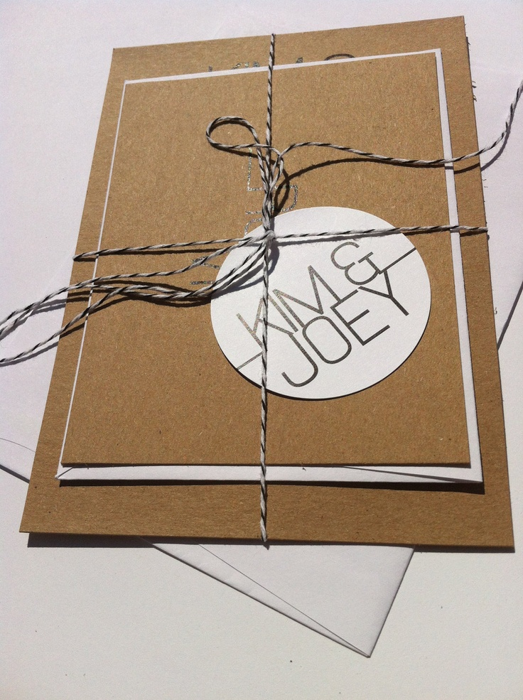 Modern meets Rustic-Wedding Invitations, rsvp card, twine and tag. $4.00, via Etsy.