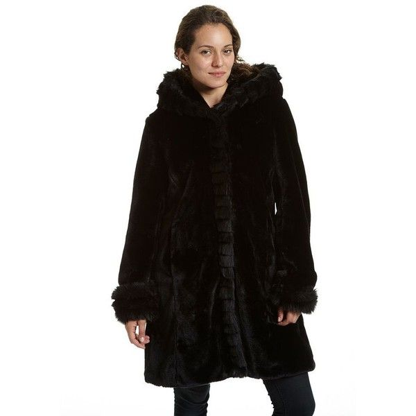 Women's Excelled Hooded Faux-Fur Jacket ($160) ❤ liked on Polyvore featuring outerwear, jackets, black, pocket jacket, hooded jacket, faux-leather jacket, faux fur hooded jacket and long sleeve jacket