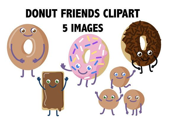 donut friends clipart donut characters food clipart breakfast icons donut emoji