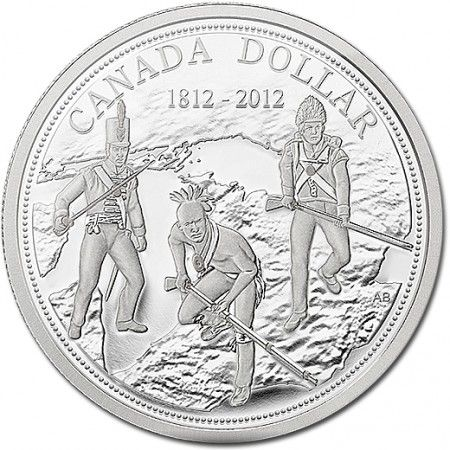 Canadian War of 1812  $1 Silver Dollar coin    • Intricate detailing on the Proof Silver Dollar depicts a British sergeant, a Voltigeur Canadien, and an Iroquois warrior in historically accurate uniform approaching the invader with unity of purpose to defend the border and colonies they represent.   • Encircling the design of the Proof Silver Dollar are 200 finely struck beads symbolizing the 200th Anniversary of the War of 1812.  =])