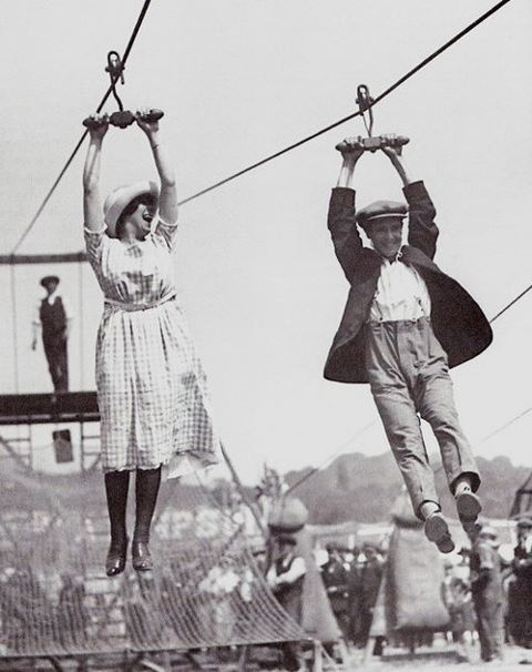 zip line 1920s style. Ok this made me laugh!!!