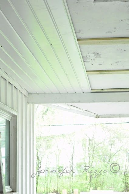 Renewing a porch ceiling with fascia.....great solution for a maintenance free ceiling !