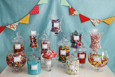 Candy bar and dessert table inspiration - backdrop and pennant