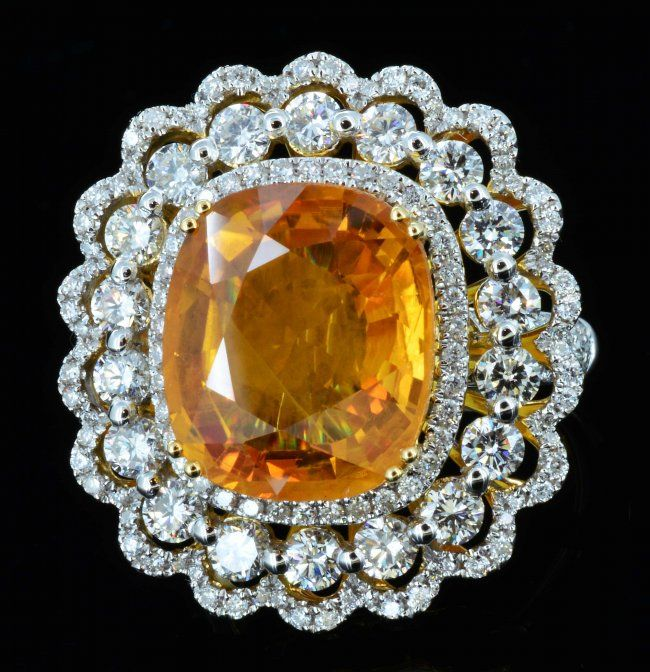 18K Gold, orange sapphire & diamond ring