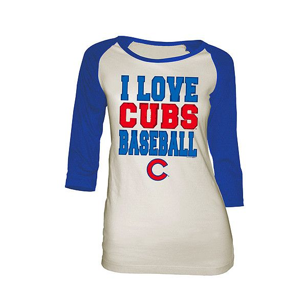 Chicago Cubs Women's I LOVE BASEBALL Wide Scoop Raglan T-Shirt -... ($20) ❤ liked on Polyvore featuring tops, t-shirts, baseball top, i love t shirts, scoop neck tee, raglan t shirt and raglan baseball t shirt