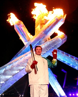 Wayne Gretzky lights the Olympic Cauldron during the Opening Ceremony of the 2010 Vancouver Winter Olympics.