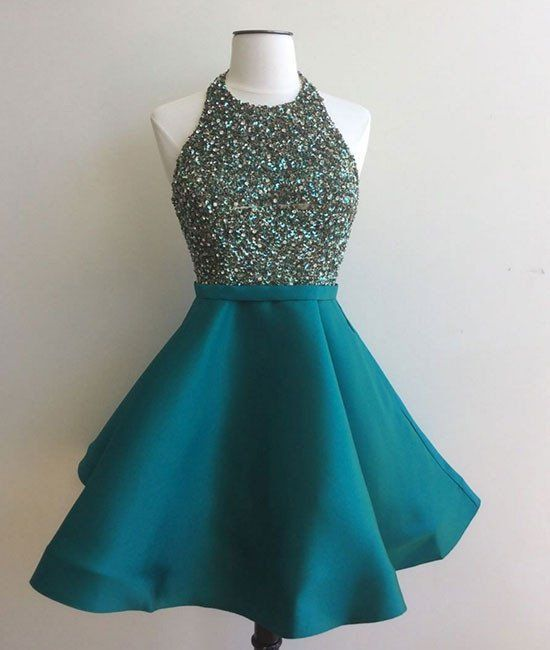 Custom made round neck sequin short green prom dress, homecoming dress