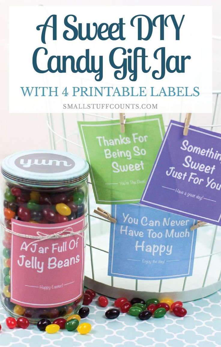 What a cute gift idea! A cheap candy jar filled with jelly beans. So sweet. Make sure to download the 4 free jar labels!