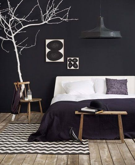 Black wall in the bedroom