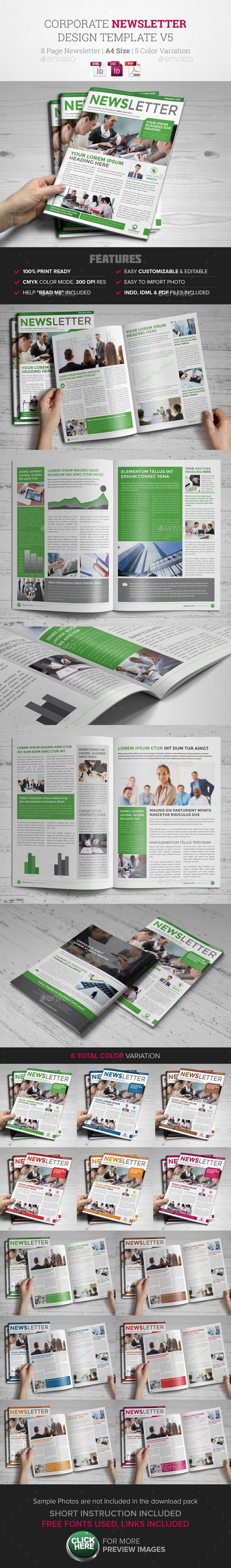 Newsletter Indesign Template v5  - Newsletters Print Templates