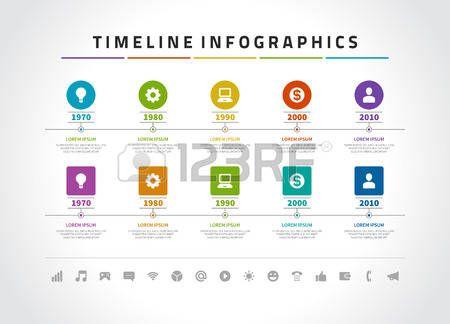 Timeline modello di progettazione vettoriale infografica e le icone. Per il web design, timeline e il layout del flusso di lavoro.
