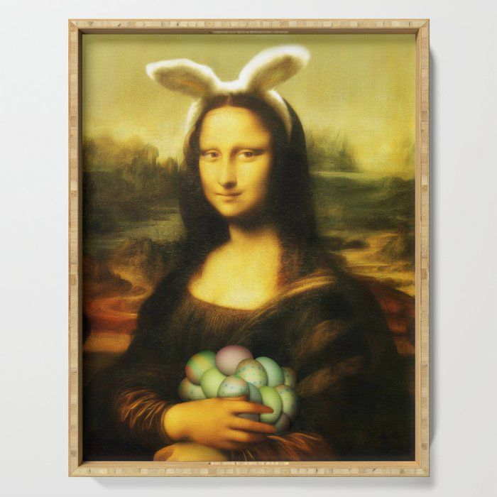 Easter Mona Lisa With Bunny Ears And Colored Eggs Serving Tray Mona Lisa Coloring Eggs Bunny Ear