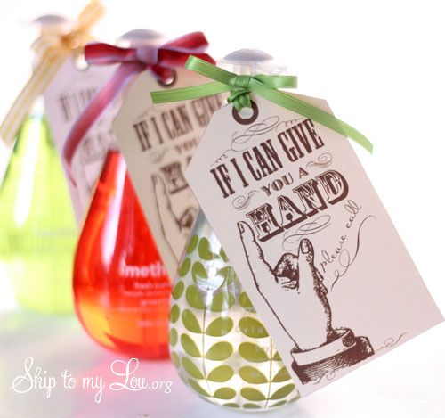 """If I can give you a hand, please call"" - Perfect Back to School gift for any teacher & the bottles of soap are so cute!"