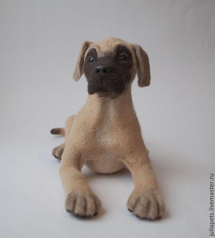 Немецкий дог Интерьерная игрушка из шерсти - коричневый,щенок,собака игрушка