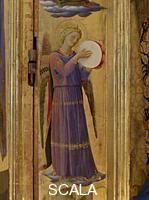 Beato Angelico (1387-1455) Tabernacolo dei Linaioli, dett. Angelo musicante con tamburello, Museo di San Marco, Firenze -- Foto Scala,Firenze