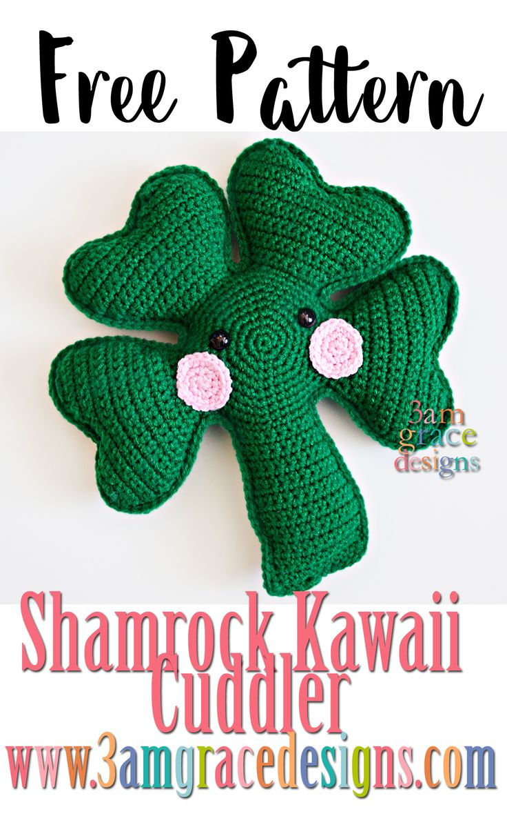 FREE Shamrock Kawaii Cuddler crochet pattern - 3amgracedesigns