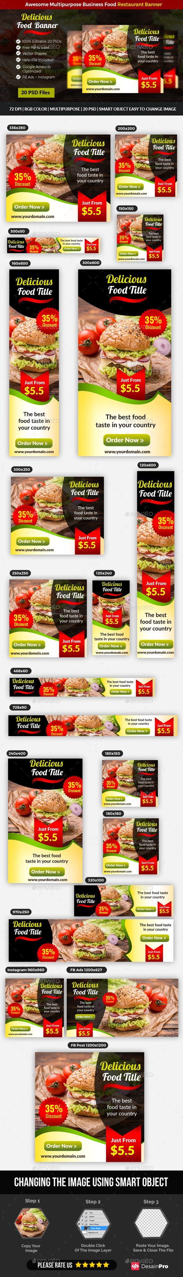 #Restaurant Food #Banner Ads - Banners & Ads #Web Elements Download here: https://graphicriver.net/item/restaurant-food-banner-ads/19711410?ref=alena994
