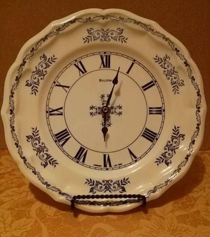 "Vintage Bulova wall clock Blue on white porcelain 10""in AA battery Plate France 