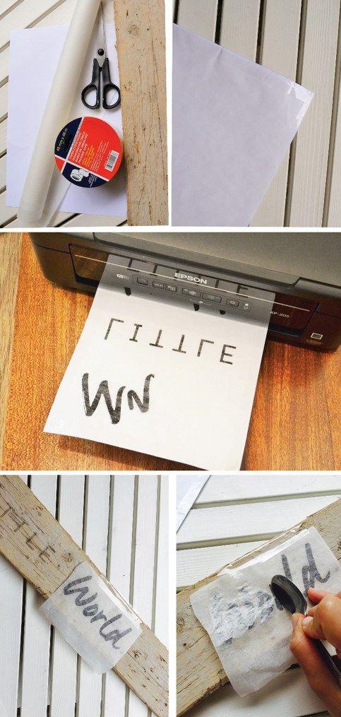 DIY écriture sur planche de bois