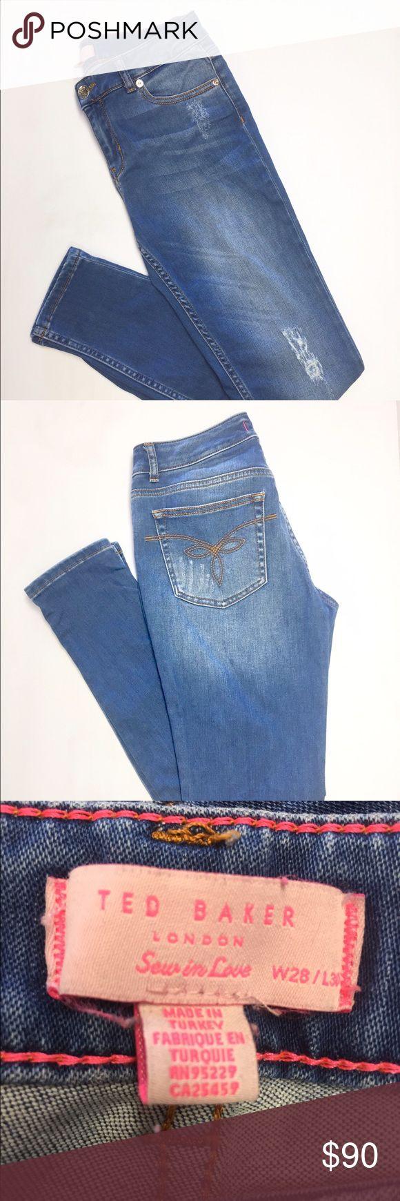 Ted Baker  Frossia Abrasion Denim Blue Super cute abrasion detail Ted denim, medium blue wash. Like new, size 28.  #tedbaker #abrasion #denim #skinnyjeans #skinny #frossia Ted Baker Jeans Skinny