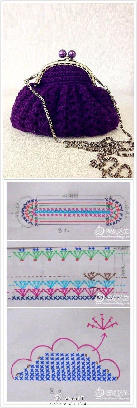 شغل ابره NEEDLE CRAFTS: شنطه كروشيه بالباترون - crochet bag pattern