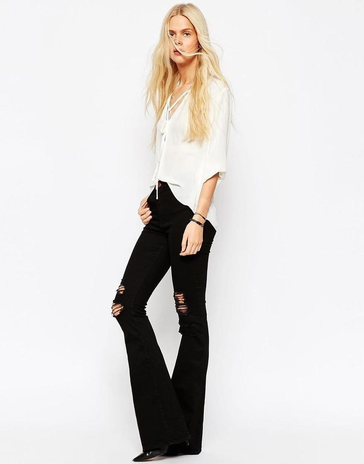 ASOS | ASOS Bell Flare Jeans In Clean Black With Thigh Rips at ASOS