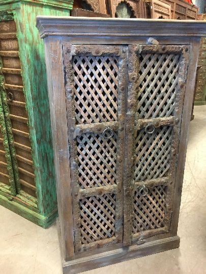 Brown Armoire With Open Wooden Jali Design Cabinate  #armoire #rustic #furniture  #indian