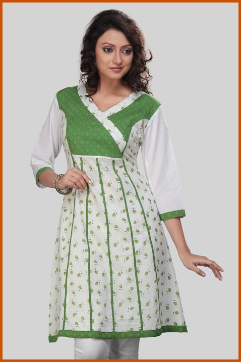 Off White, Light Cream and Green Cotton Readymade Kurta    Itemcode: TNK34    Price: US $25.99    Click here to shop: http://www.utsavfashion.com/store/item.aspx?icode=tnk34