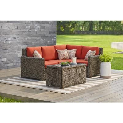 Delicieux Hampton Bay Riley 3 Piece Metal Outdoor Sectional Set With Charleston  Cushions HD18129I   The Home Depot