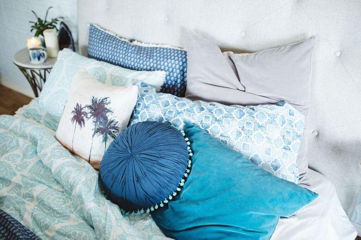 Paradise Palm Cushion / Twinkling Night Star Round Cushion Indigo / Emerald Velvet Sky Cushion www.shannonfricke.com