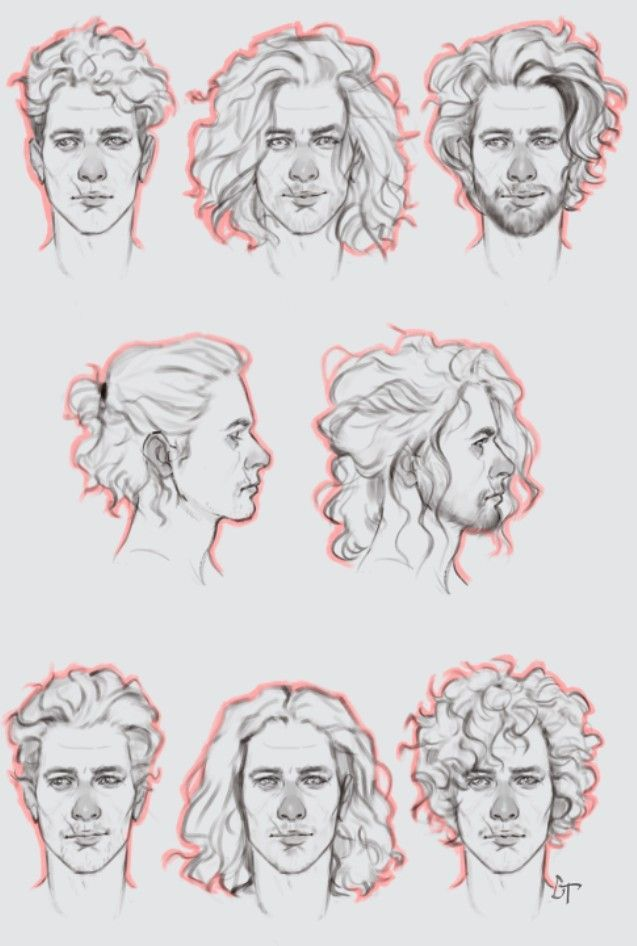 Men Curly Hair Long Hairstyles Drawing Reference In 2020 Boy Hair Drawing Hair Sketch How To Draw Hair