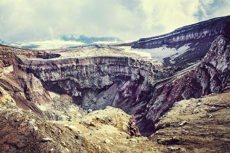 Crater Of The Volcano Goreliy  Photograph by Nadezhda Tikhaia   #NadezhdaTikhaiaFineArtPhotography #ArtForHome #HomeDecor #Nature #Landscapes #InteriorDesign #FineArtPrints