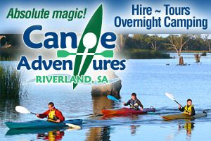 Canoe Adventures - hire canoes and do guided tours and canoe camping expeditions.  Berri, Riverland, South Australia.