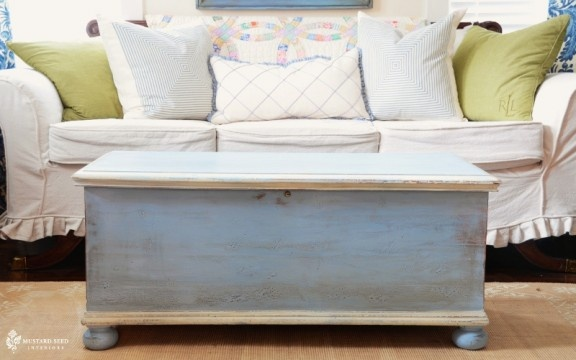 cedar chest redo~ although I would really hate to alter mine cedar chest since my Dad built it for me over 30 yrs ago!! This is really cute!