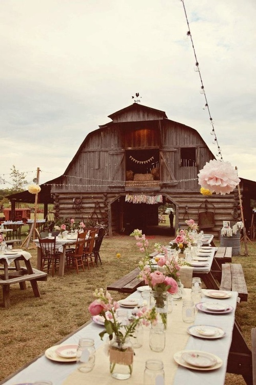 picnic tables for seating - mason jars with flower/candles Barn Party