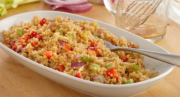 The spicy-sweet Cajun heat in this couscous makes it a great side. I would use quinoa