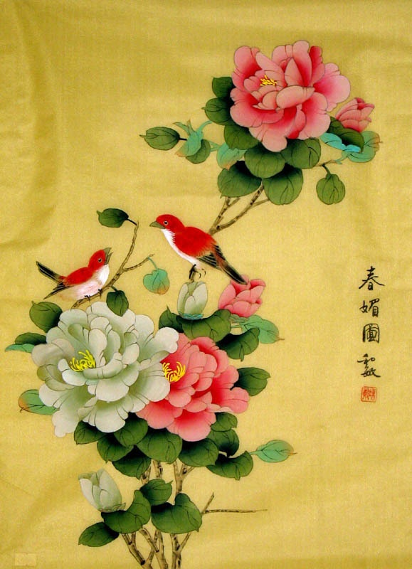 Chinese Peony Painting by Ling Xue. The materials of the painting is silk, not…