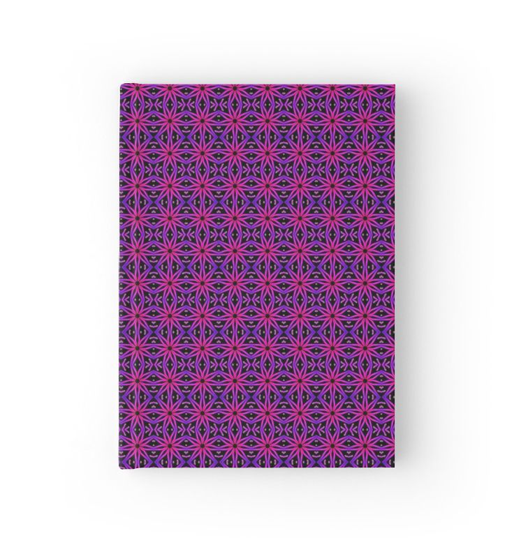 Flower Lino Print Pattern in Neon Pink Hardcover Journal  by TC-TWS