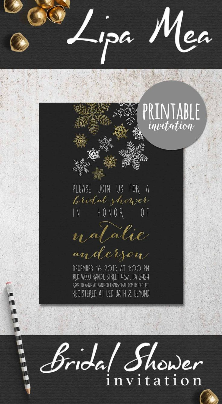 Winter Bridal Shower Invitation Printable, Christmas Bridal Shower Invitation, Snowflakes Bridal Shower Invite, Gold & Silver Bridal Shower party - pinned by pin4etsy.com