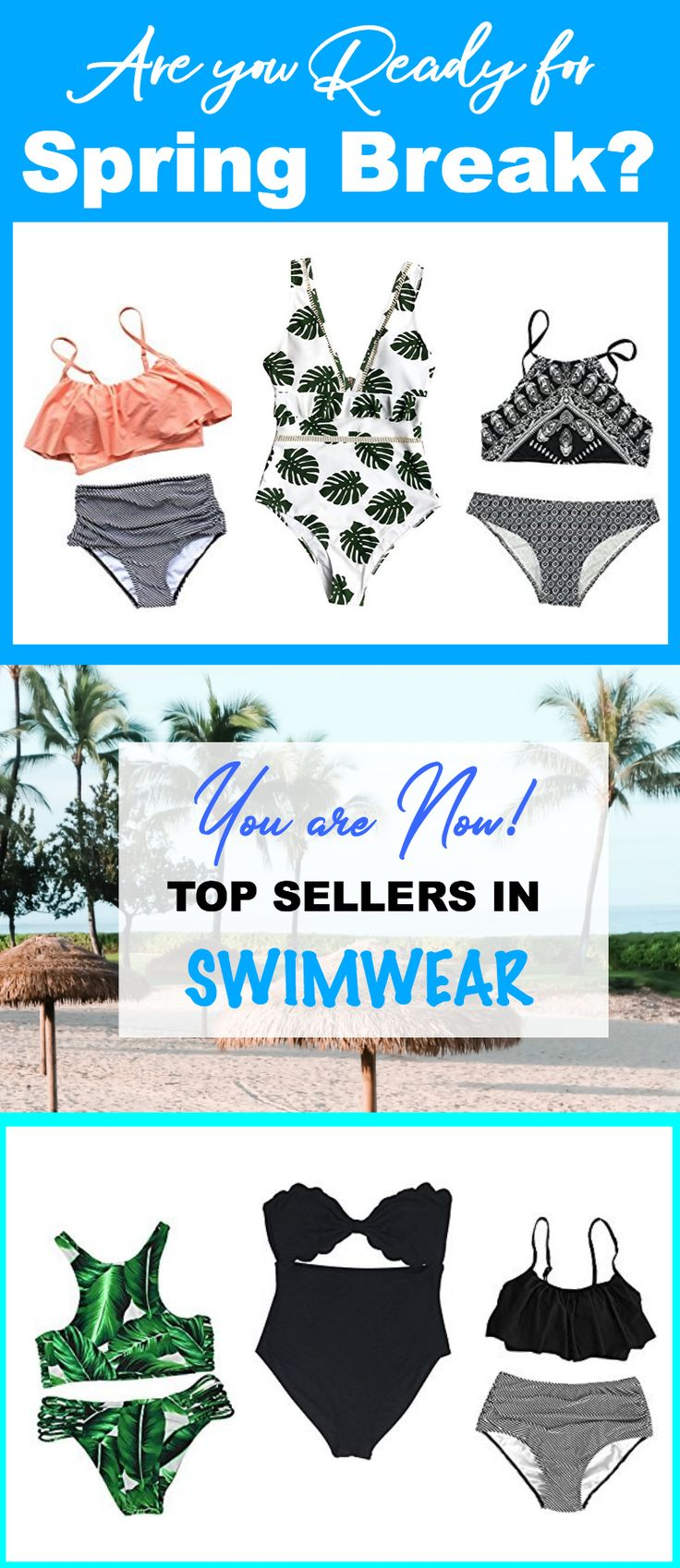 Get Spring Break ready with these gorgeous Bathing Suits for teens, for moms, tankinis, one-pieces, for big bust, for anyone! Amazon has all of these and TONS more, so check them out and get all of your warm weather accessories, too! #swimwear #swimsuit #spring #ideas #college #girls #love #cute #summer #beach #vacation #suits #ad #affiliate