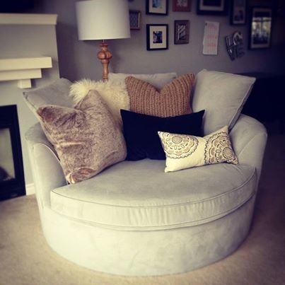 Reading chair. This oversized chair is to die for! It looks so comfy and the pillows are perfect!