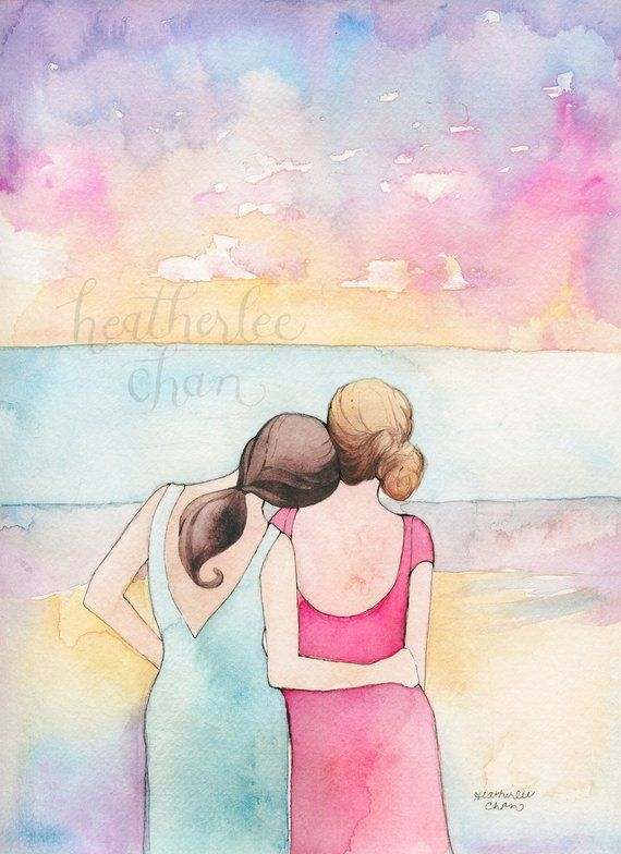 Best Friends Art Sisters Art At The Beach Watercolor Painting