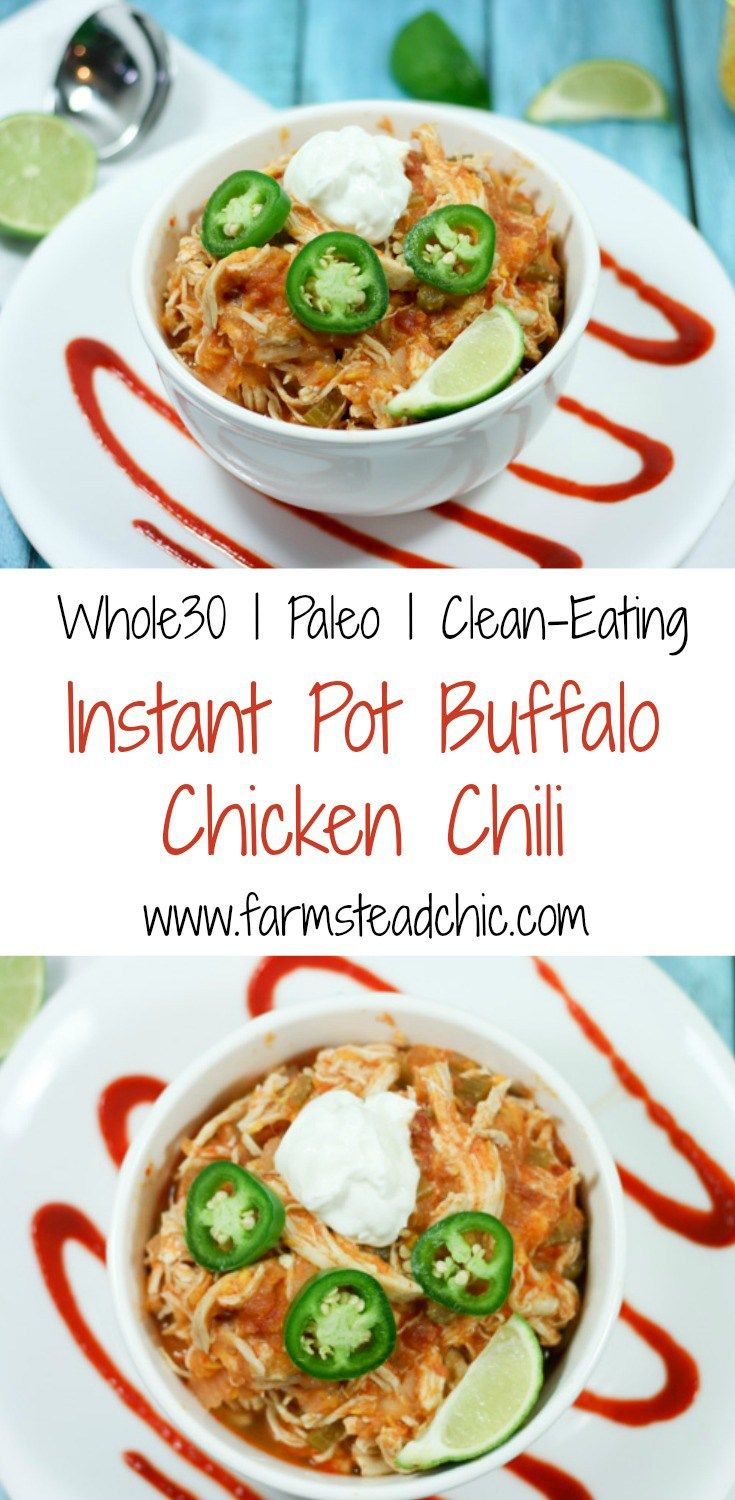 This Instant Pot Buffalo Chicken Chili incorporates all your favorite WING flavors into a comforting one-dish meal that's Paleo + Whole30 compliant! (Paleo Casserole One Pot)