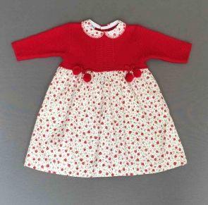 Vestido cuerpo de punto rojo y falda de flores