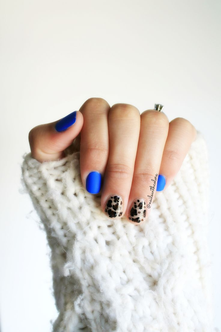 Matte Blue and Animal Print. Always a good choice.
