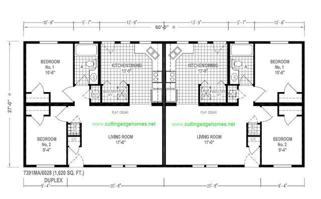Duplex mobile home floor plans king duplex 2br 1ba for Manufactured duplex floor plans