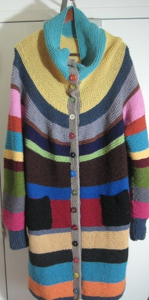 My own scrappy bathrobe sweater-- Inspired by this beauty: http://pinterest.com/pin/210543351299901813/