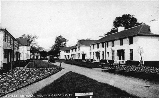 Photo:Athelstan Walk original houses c1930 accessed from Broadwater Road. HALS Library photo collection